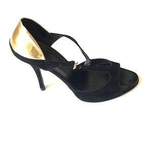 Gucci Suede T-Strap Stiletto Heels Black 8.5